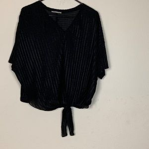 Zara Trafaluc- Black Blouse Tie Front size Medium